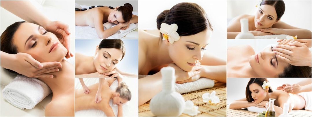 Collage Traditioneller Massage und Wellness-Anwendungen